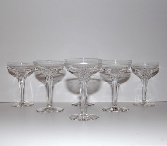 Art deco hollow stem champagne glasses hand facet stems - Hollow stem champagne glasses ...