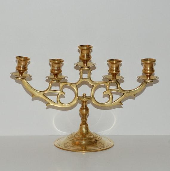 Vintage Large Solid Brass Five Branches Candelabra Candlestick Holder