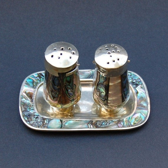 Vintage Alpaca Mexico Tray, Salt and Pepper Shakers Set in Silver and Inlaid Abalone Shell