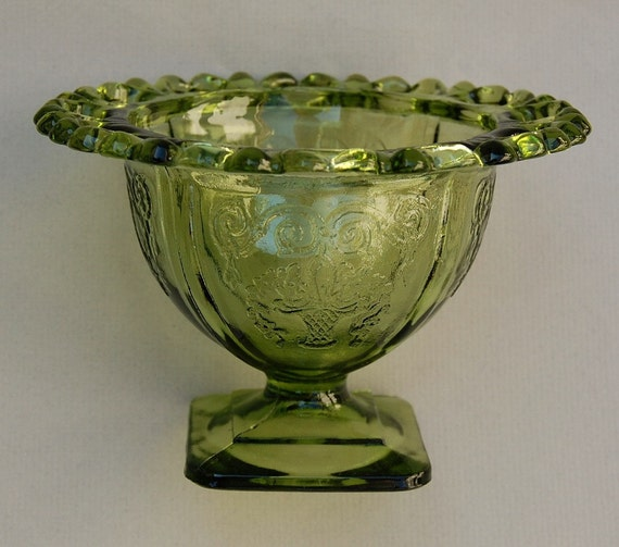 Green Glass Lace Edge Pattern Small Compote
