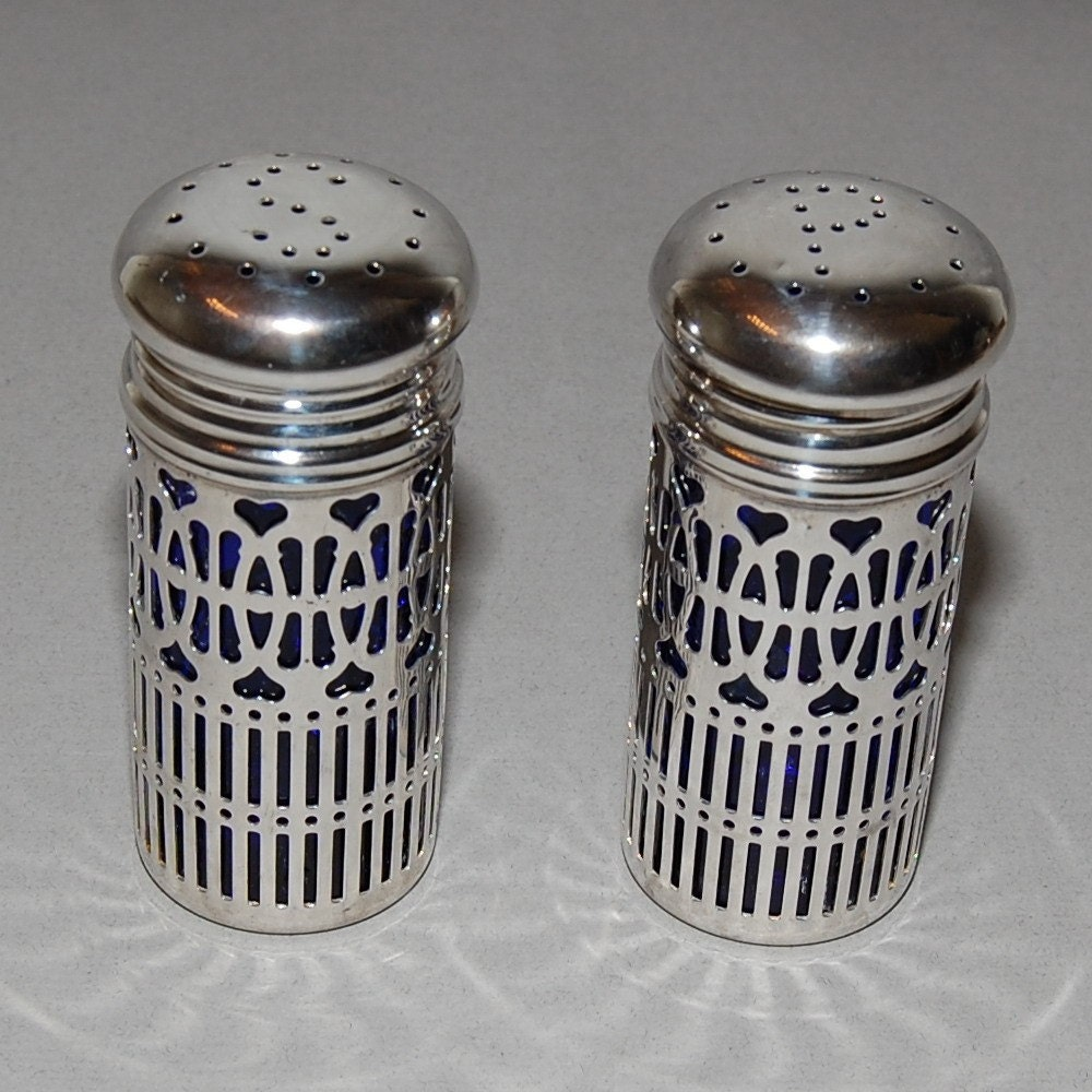 Silver Cobalt Blue Glass Salt And Pepper Shakers Set