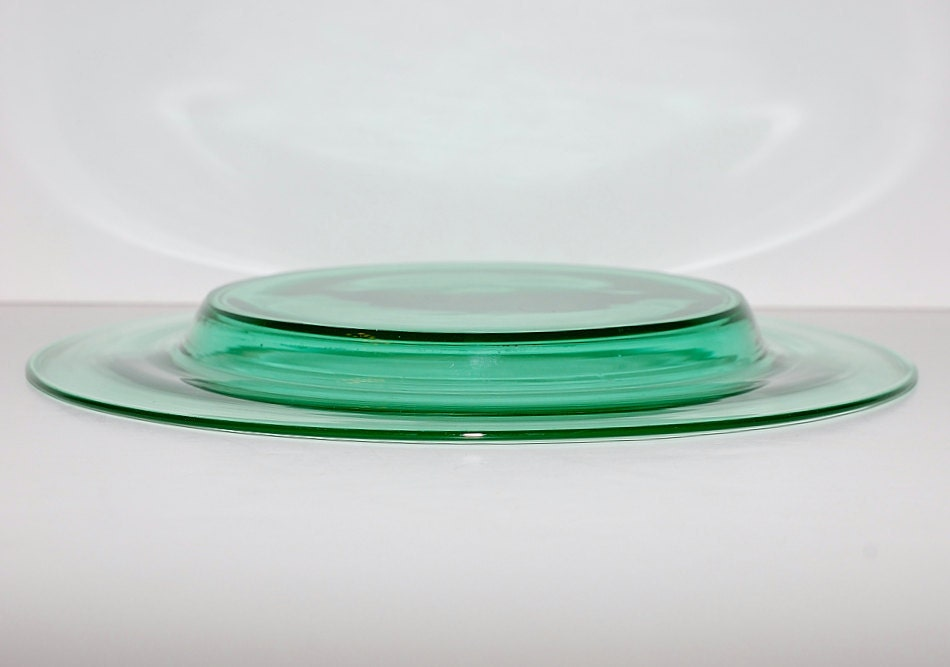 Vintage Steuben Pomona Green Glass Salad Plates Set By