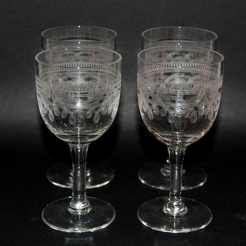 Antique Etched Cordial Glasses