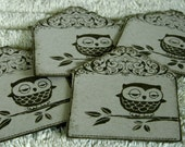 Antique, framed owl embellishement cards (set of 4)