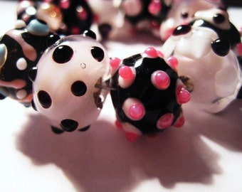 SALE Set of Eleven  Lampwork Glass Focal Beads Pink and Black(Romantic Fun)
