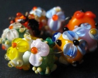 Fun in the Sun II, Set of 9 Handmade Lampwork Beads SALE