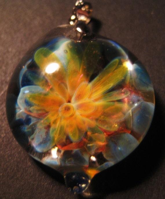 Handmade Boro Flower Implosion Pendant. SALE