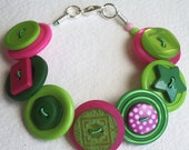 Summer - Lime, hot pink and green button bracelet
