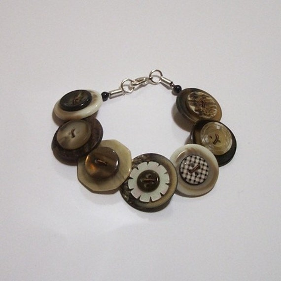 Coffee, cream and brown button bracelet