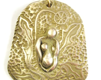 Dandelion Goddess sculptural pendant in Bronze medicinal wild flowering plants goddess jewelry