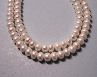 Large Button Freshwater Pearls, 7.5mm - 8.5mm,  15 inch strand