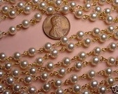 5 Feet Vintage Faux Pearl Bead Link Chain 6mm