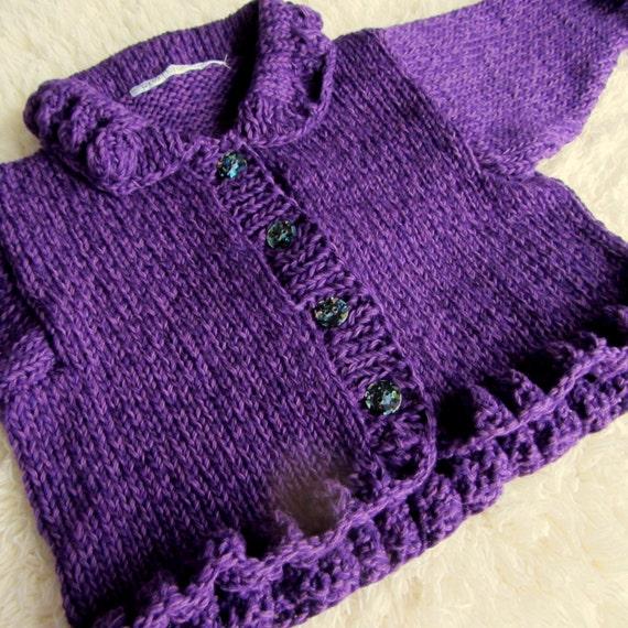 Hand Knit Cotton Baby Cardigan