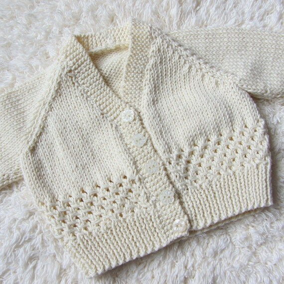 Hand Knit Cotton Baby Cardigan