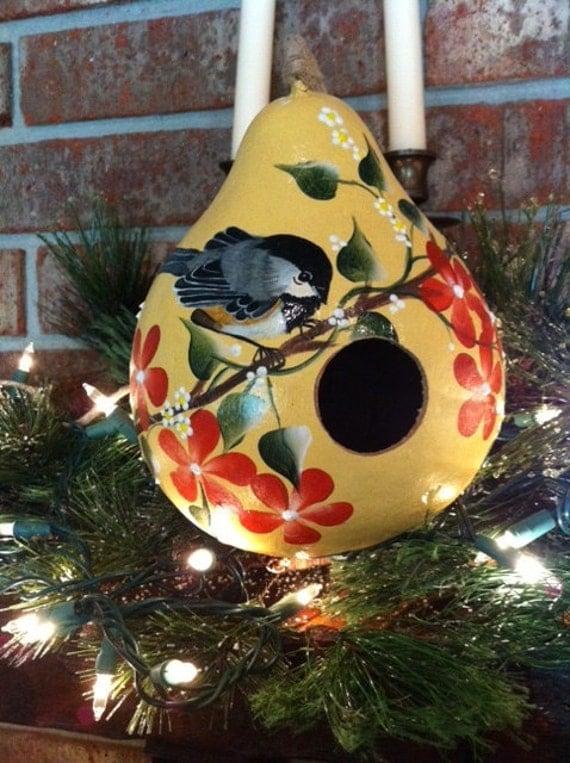 Gourd Birdhouse Handpainted With A Beautiful Chickadee