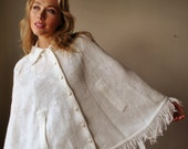 60s White Fringed  Poncho
