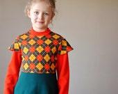 ON SALE.....70s Argyle knit dress, size 5/6