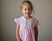 1950s Pink cotton dress, size 18-24 months to 2t