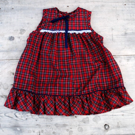 Red Plaid Carolers 18: Scottish Red Plaid Dress For Baby Girl In Size 2t 18 To 24