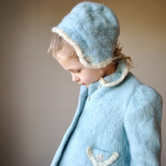 1950s Soft blue Wool Winter coat, size 3