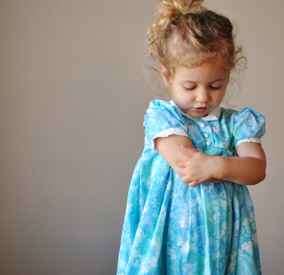 ON RESERVE......1960s Watercolor Party Dress, size 18-24 months