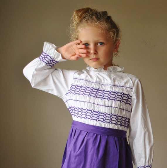 1970s Purple Smocked Dress, size 5/6