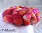 4.3 oz/121 gms Superwash Merino wool roving - Sangria Summer