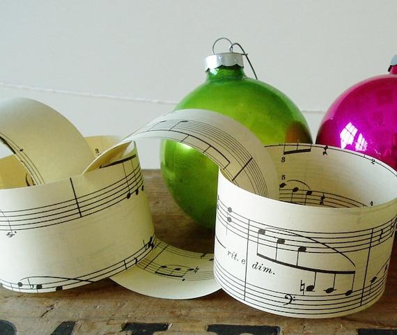 Paper Chain Kit Vintage Sheet Music Wedding Decor Party Decor DIY Christmas Garland Decoration