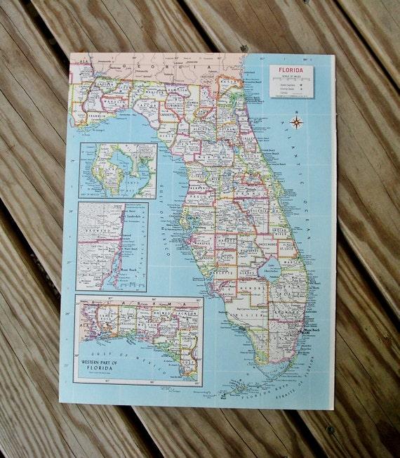 Florida Map Vintage Atlas 1960s Wall Decor United States Map