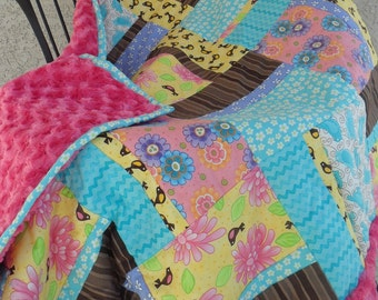 Birds of a Feather Luxurious Minky Baby Quilt