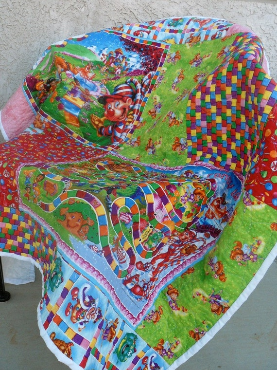 Candyland Lap Quilt - Perfect size for a toddler bed or crib - FREE SHIPPING
