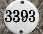 Vintage French Enamel Hotel Number Plate 3393