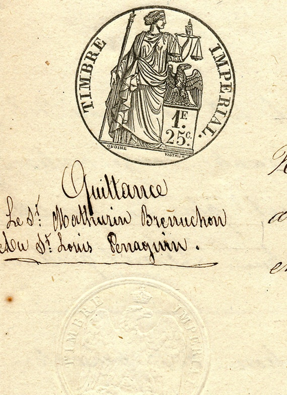 Antique 1894 French Sepia Script Document 36