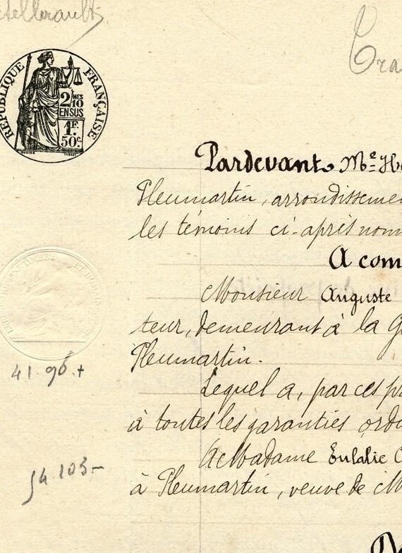 Antique French Sepia Script Document 42