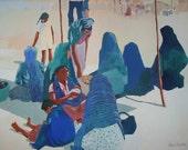 Marketplace Women Acrylic Painting