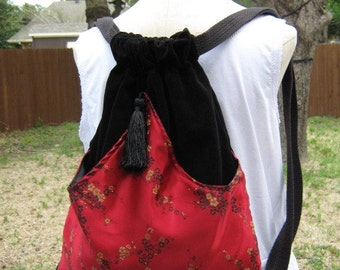 Backpack Oriental Red Satin Asian Fabric Backpack  Boho Backpack  Asian Book Bag  Oriental Book Bag Sling Bag