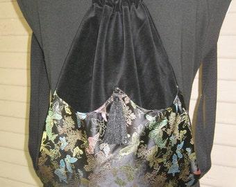 Iridescent Oriental Butterflies Backpack Backpacks Boho Backpack  Asian Backpack  Black Backpacks  Back pack  Book Bag