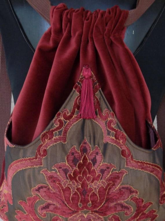 Rich Chenille Tapestry Backpack Dark Rust And Burgundy Iridescent Brown Boho Backpack   Backpacks  Sling Bags  School Bags  Book Bags