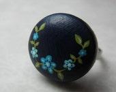 navy blue flower vine ring