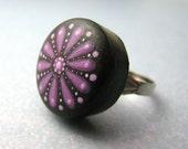 night blooming flower in plum - handpainted ring