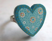 sweetheart ring in turquoise - handpainted adjustable ring