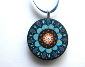handpainted pendant - navy blue
