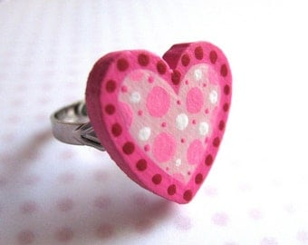 sweetheart handpainted adjustable ring with pink polka dots
