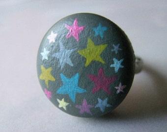 scattered stars - handpainted adjustable ring