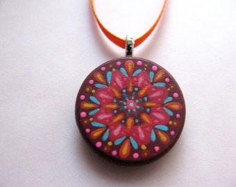 handpainted pendant - cranberry orange