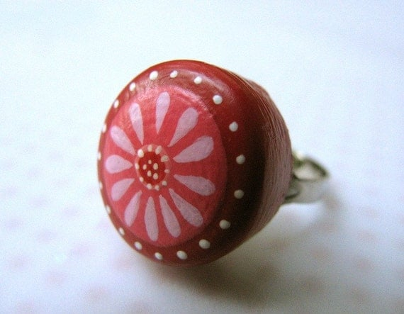 pink and red daisy  - adjustable ring