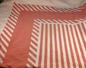 "Vintage 50's Tablecloth. Rectangular with Geometric pattern, white and dusky rose color. 51"" x 45"" Very soft to touch."