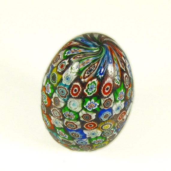 Sale Murano Glass Paperweight Vintage Millefiori Cane Egg