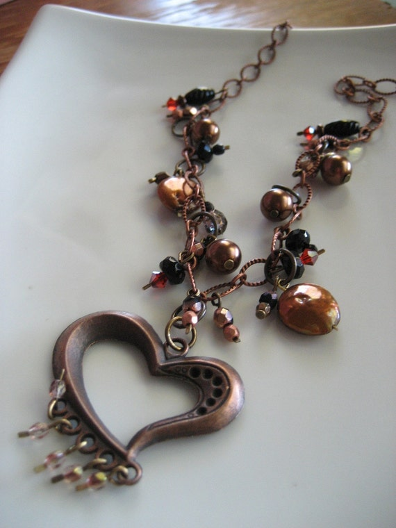 Coffee Love Necklace / Earth Tone Beaded Charms / Copper Tone Heart / One of a Kind Handmade Jewelry