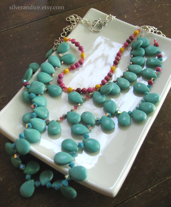 Turquoise Drop Multistrand Statement Necklace / Triple Strand Necklace / Turquoise Pink & Yellow Necklace /One of a Kind Necklace